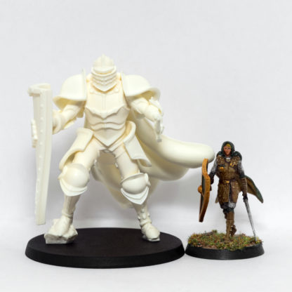 At 77mm tall, the Missionary MK II is nearly twice as tall as the 40mm prototype Praetorian pilot miniature.